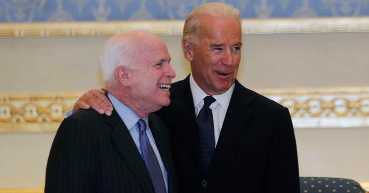U.S. Vice President Joe Biden (R) and U.S. Senator John McCain arrive to offer their condolences on the death of the late Saudi Crown Prince Sultan bin Abdul-Aziz Al Saud at Riyadh airbase October 27, 2011. REUTERS/Fahad Shadeed (SAUDI ARABIA - Tags: POLITICS)